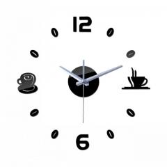 Creative DIY 3D Artistic Wall Clock Living Room Fashion Wall Clock black one size