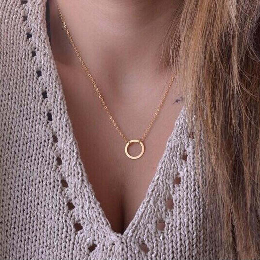 新款时尚首饰女士项链简约链条Metel圆形项链金色单码1