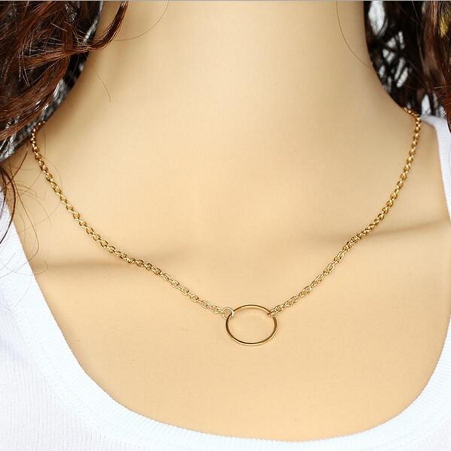 新款时尚首饰女士项链简约链条Metel圆形项链金色单码2