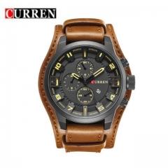 CURREN Brand Men's Sport Watch Leather Strap New Fashion Watch Quartz Watch light brown one size