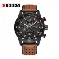 CURREN Brand Men's Sport Watch Leather Strap New Fashion Watch Quartz Watch brown one size
