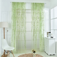 Cute Willow leaf Tulle Curtains Blinds Voile Pastoral Style Willow Floral Window Decorative Cortinas green 100cm x 270cm