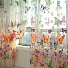 Romantic Butterfly Curtains Yarn Tulle Curtain Breathable Anti-Mosquito Window Curtain Screening multicolor 100cm x 200cm