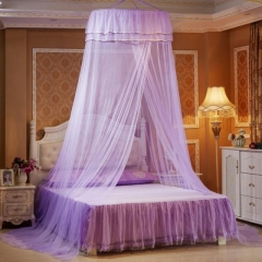 Round Lace Mosquito Net Dome Bed Net Canopy Bed Net purple one size
