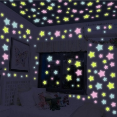 100Pcs/Bag Stars Decal Glow Fluorescent 3D Wall Stickers Home Decor colors one size