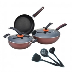 3Pcs/Set High Quality Cooking Pots Cookware Set Non-Stick + 3Pcs/Set Truners For Kitchen red one size