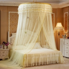 Round Lace Mosquito Net Dome Bed Net Canopy Bed Net Big Size yellow one size
