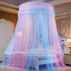 Round Lace Mosquito Net Dome Bed Net Canopy Bed Net Oversize blue&pink one size