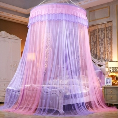 Round Lace Mosquito Net Dome Bed Net Canopy Bed Net Oversize purple&pink one size