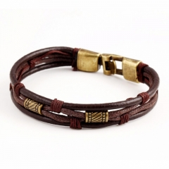Men's Jewellery Metal Retro Weave Leather Bracelets New Fashion Men's Bracelets Jewelry brown one size