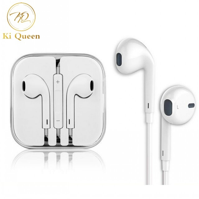 In-Ear Headphone Earphones Earpods with Volume Control For Mobile Android and Iphone white