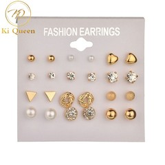 12 Pairs/Set Earring Women's Fashion Accessories Rhinestone & Pearl Earring gold&white one size