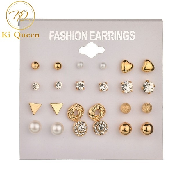 12 Pairs/Set Earrings Jewelry Women Fashion Accessories Rhinestone & Pearl Earring Jewellery gold&white one size