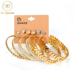 6 Pairs/Set Earrings Jewelry Women Fashion Accessories Earring Rhinestone Earring Jewellery gold one size