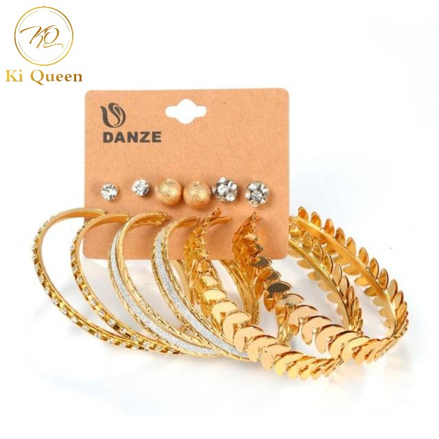 6 Pairs/Set Earring Women's Fashion Accessories Earring Rhinestone Earring gold one size