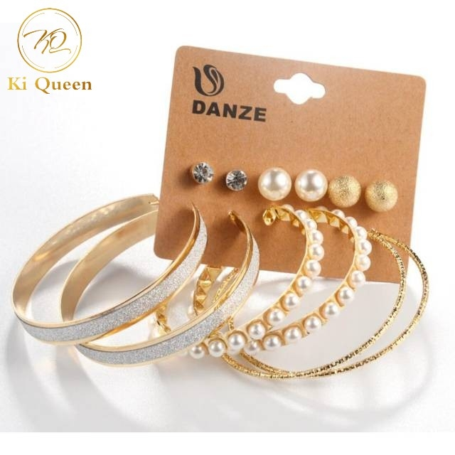 6 Pairs/Set Earring Women's Fashion Accessories Rhinestone & Pearl Earring gold one size