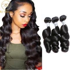 3 Bundles Brazilian Remy Hair 100% Human Hair Weave Hair Extensions Hair Weft Loose Wave 100g/pcs black 12 12 12 inch