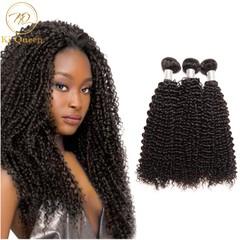 3 Bundles Brazilian Remy Hair 100% Human Hair Weave Hair Extensions Hair Weft Kinky Curly 100g/pcs black 12 12 12 inch