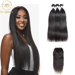 3 Bundles Hair Weave with 4x4 Lace Closure Brazilian Remy Hair 100% Human Hair Straight 100g/bundle black 8 8 8+Closure 8 inch