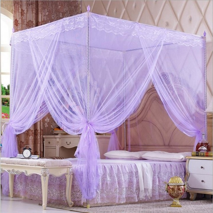 Mosquito Net With Metallic Stand Classic Style Bed Net For Bedding Room 5X6/6X6 Bed Size purple 5*6(1.5m)