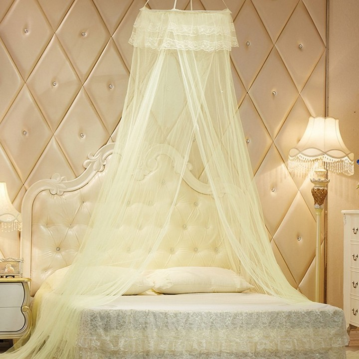 Mosquito Net Round Lace Bed Net For Bedding Room 4X6 Bed Size yellow one size