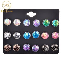 Valentines Gift 9 Pairs/Set Earring Women's Fashion Accessories Mermaid colors Earring colors one size
