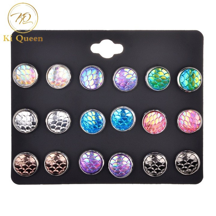 9 Pairs/Set Earring Women's Fashion Accessories Mermaid colors Earring colors one size
