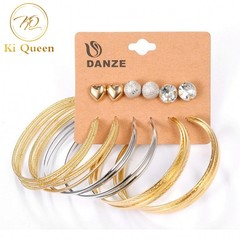 6 Pairs/Set Earring Jewelry Women Fashion Accessories Earring Rhinestone Earring Jewellery gold&silver one size