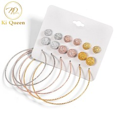9 Pairs/Set Earring Jewelry Women Fashion Accessories Earring Rhinestone Earring Women Jewellery colors one size
