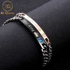 2Pcs/Set Couple Bracelets Jewelry Men Bracelet and Women Bracelet Accessories Jewellery silver one size