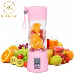 Mini Portable Juicer Cup Rechargeable Blender USB Juicer for Vegetables Fruit Reamers Bottle 380ml pink one size