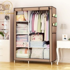 DIY Wardrobe Large Capacity Wardrobe  Assemble Closets Portable Home Storage 67*41 Inch brown