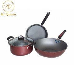 3Pcs/Set High Quality Cooking Pots Cookware Set Non-Stick For Kitchen red one size