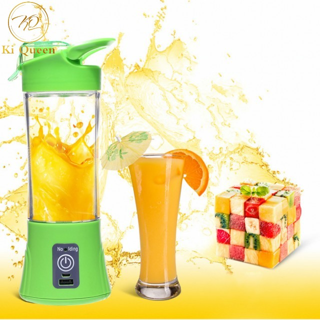 Mini Portable Juicer Cup Rechargeable Juicer For Vegetables Fruit Reamers Bottle 380ml Home Kitchen green