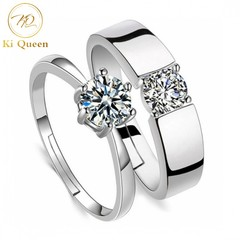 2Pcs/Set Couple Rings Classic Diamond Lover Ring Women and Men Fashion Jewelry For Wedding Jewellery as picture one size