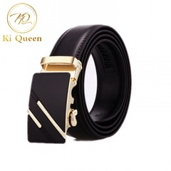 Men's Business Leather Belt Fashion Buckle Cowhide Leather Belt Men's Fashion Accessories black one size