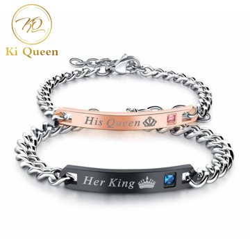 b95bac4d7 2Pcs/Set Couple Bracelets Jewelry Men Bracelet and Women Bracelet  Accessories Fashion Jewellery silver one