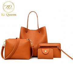 4Pcs/Set Women Handbag Women Fashion bags Ladies Shoulder Bag Messenger Bag Wallet Card Bag Brown One Size