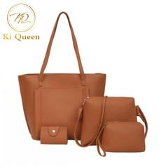 4Pcs/Set Women Handbag Women Fashion bags Ladies Shoulder Bag Messenger Bag Wallet Card Bag brown one size