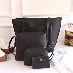 4Pcs/Set Women Handbag Women Fashion bags Ladies Shoulder Bag Messenger Bag Wallet Card Bag black one size