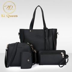 4Pcs/Set Women Tassel Handbag Women Fashion bags Ladies Shoulder Bag Messenger Bag Wallet Card Bag black one size