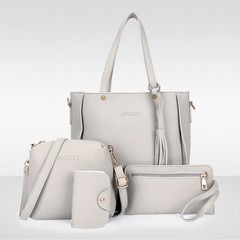 4Pcs/Set Women Tassel Handbag Women Fashion bags Ladies Shoulder Bag Messenger Bag Wallet Card Bag grey one size