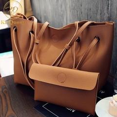2Pcs/Set Women Handbag Women Fashion bags Ladies Shoulder Bag Wallet brown one size