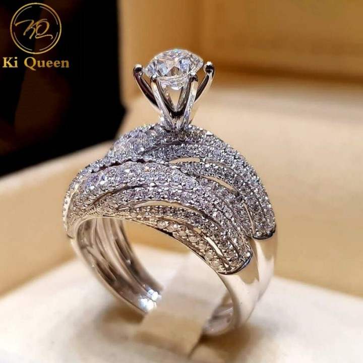 2Pcs/Set Classic Synthetic Diamond Rings Women Fashion Jewelry Jewellery Women Fashion Accessories as picture 8