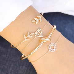 4Pcs/Set Women Fashion Bracelets Jewellery Adjustable Bracelet Women Jewelry Fashion Accessorries gold one size