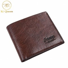 Men Short PU Wallet Classic Business Short Multi-card Purse Men Fashion Leather Wallet dark brown one size