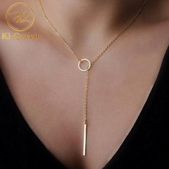 New Fashion Jewelry Women Necklace Simple Chain Metel Circle Necklace Jewellery gold one size
