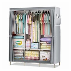 DIY Wardrobe Large Capacity Wardrobe  Assemble Closets Portable Home Storage Big Size grey