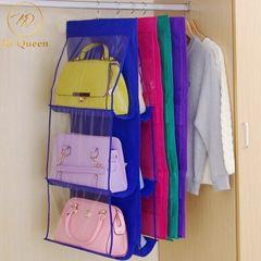 6 Grids Buggy Bag Handbags Storage Bag Storage Organizer Save Vertical Space Home pink