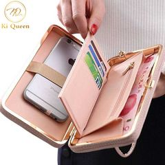 Women Wallets Fashion Long PU Leather Wallet Women Bags pink one size